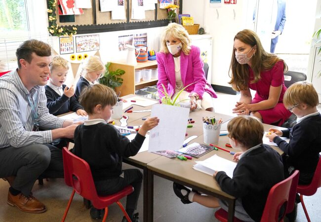 2G2FDMG US First Lady Jill Biden (left) and the Duchess of Cambridge talk with children in the schoolOs Reception Class during a visit to Connor Downs Academy in Hayle, West Cornwall, during the G7 summit in Cornwall. Picture date: Friday June 11, 2021.